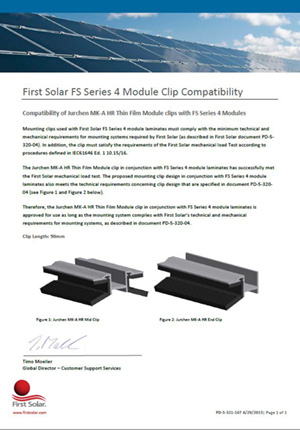 First Solar Approval MK A 100 mm