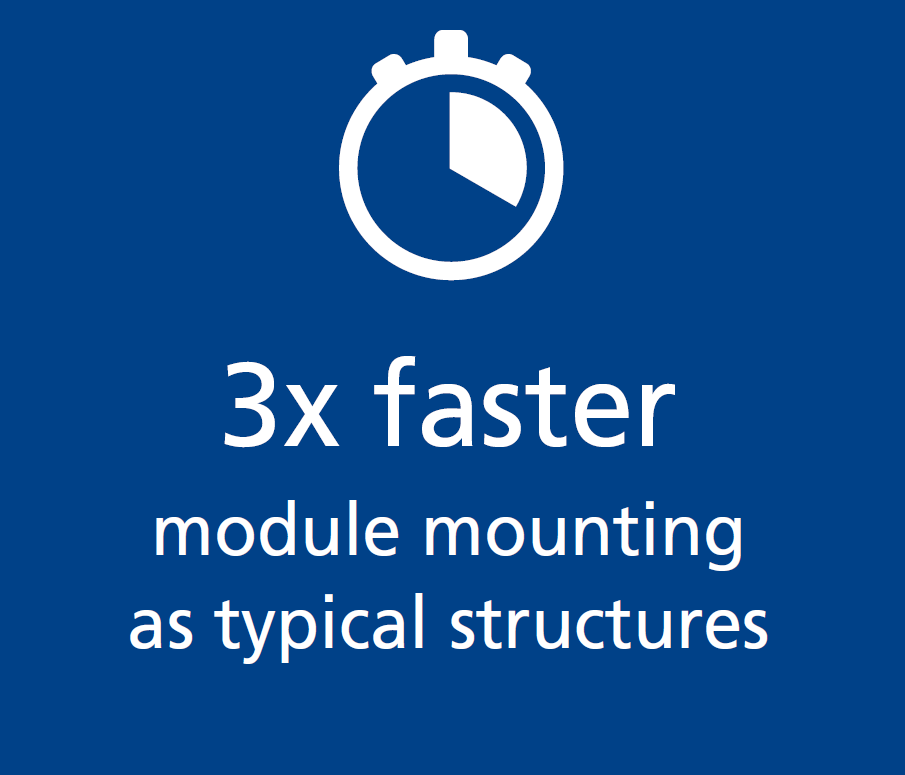 3 times faster PV module mounting